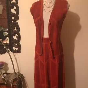Other - Vintage Rust Patchwork  Suede skirt and vest suit